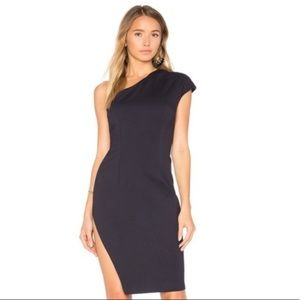 Finders Keepers Diagonal dress in navy NWT